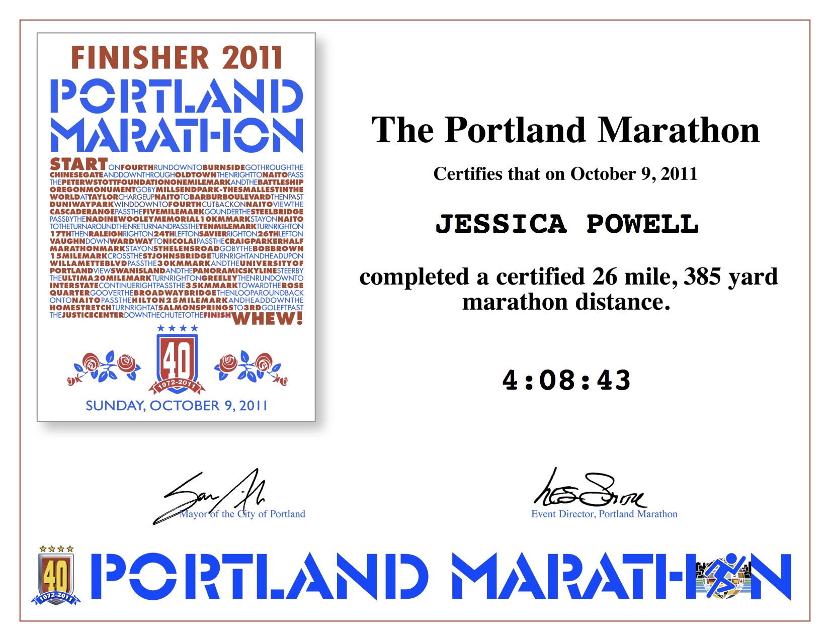 Jessica is a Finisher!!